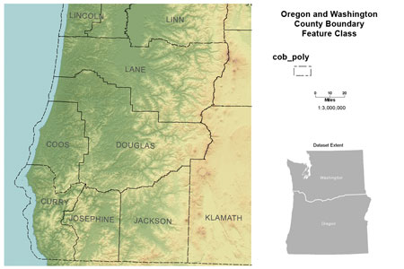 Click to view Boundary, Counties (OR, WA) map image