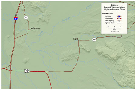 Click to view BLM OR Oregon and Washington Highways Line map image