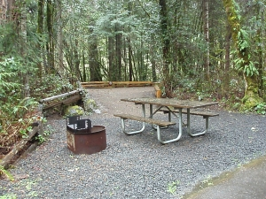 campsite, table and bbq ring