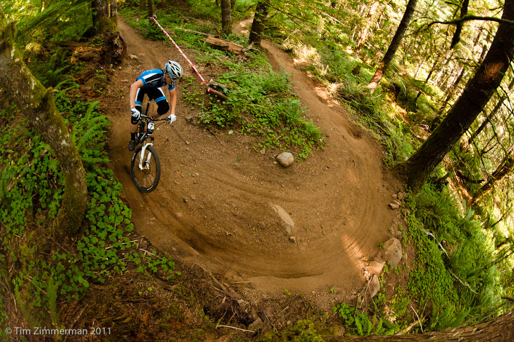 Many trails at Sandy Ridge feature bike-specific features