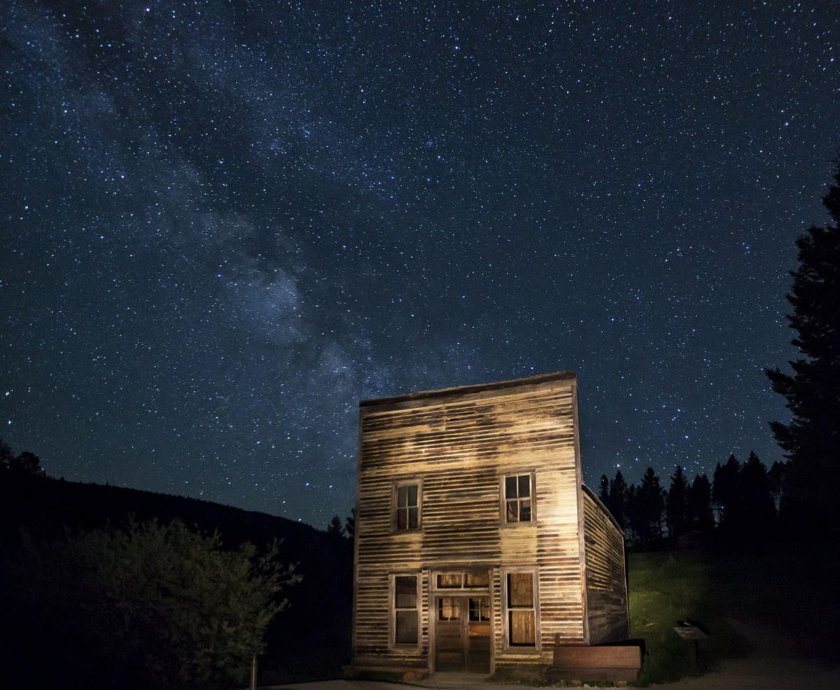 Garnet Ghost Town in Montana at night. Photo by Bob Wick, BLM.