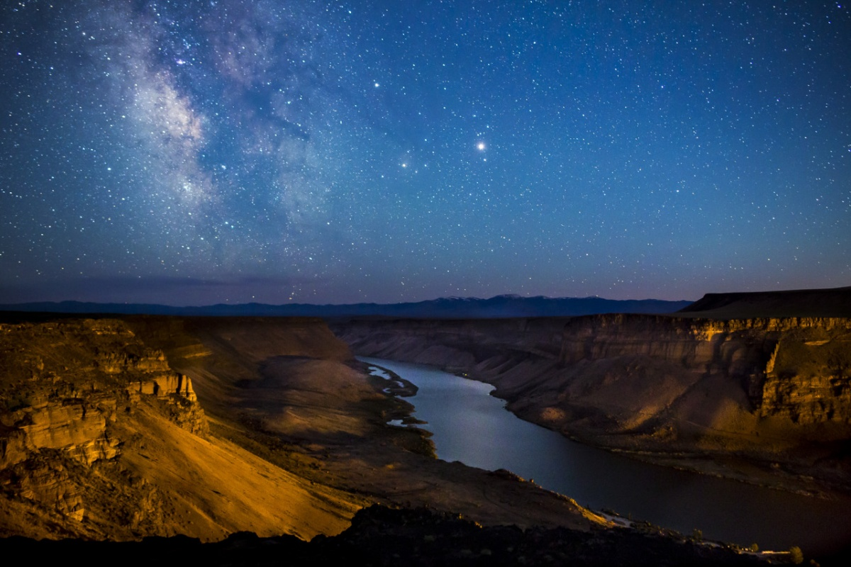 The milky way shines over the Snake River in Idaho. Photo by Bob Wick, BLM.