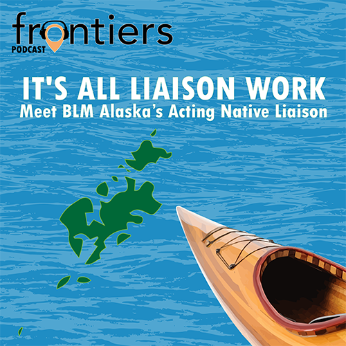 Frontiers Podcast album artwork with Kodiak Island and canoe