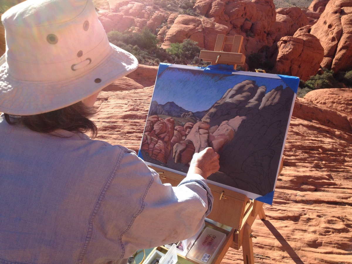Artist Linda Campbell paints Calico Inspiration