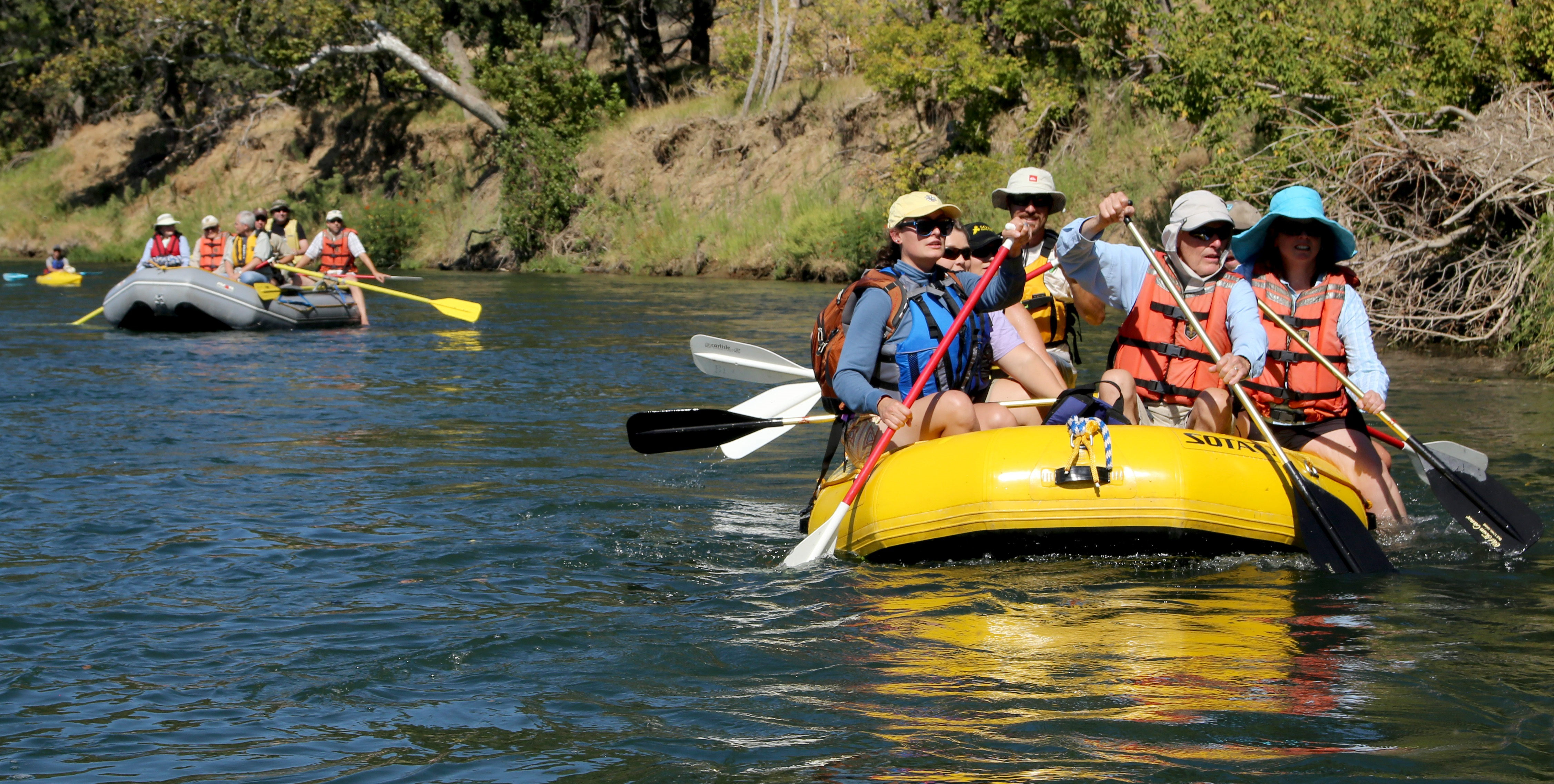Northern California District RAC members take to the water in the Redding Field Office's Sacramento River Bend Area of Critical Environmental Concern to discuss management issues along 17 miles of public land river access, California, BLM photo