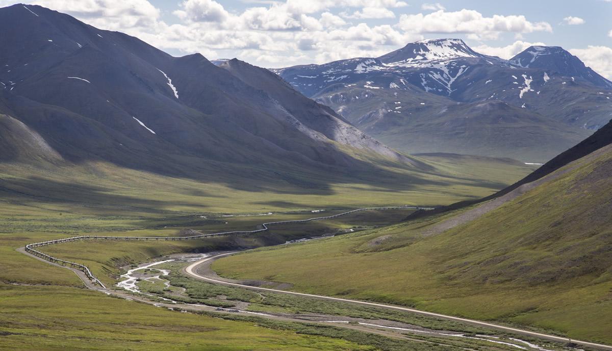 Trans-Alaska Pipeline alongside the Dalton Highway and the Kobuk River south of the Brooks Range