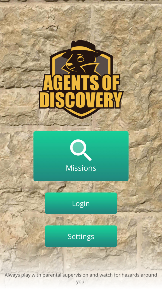 Agents of Discovery App home screen
