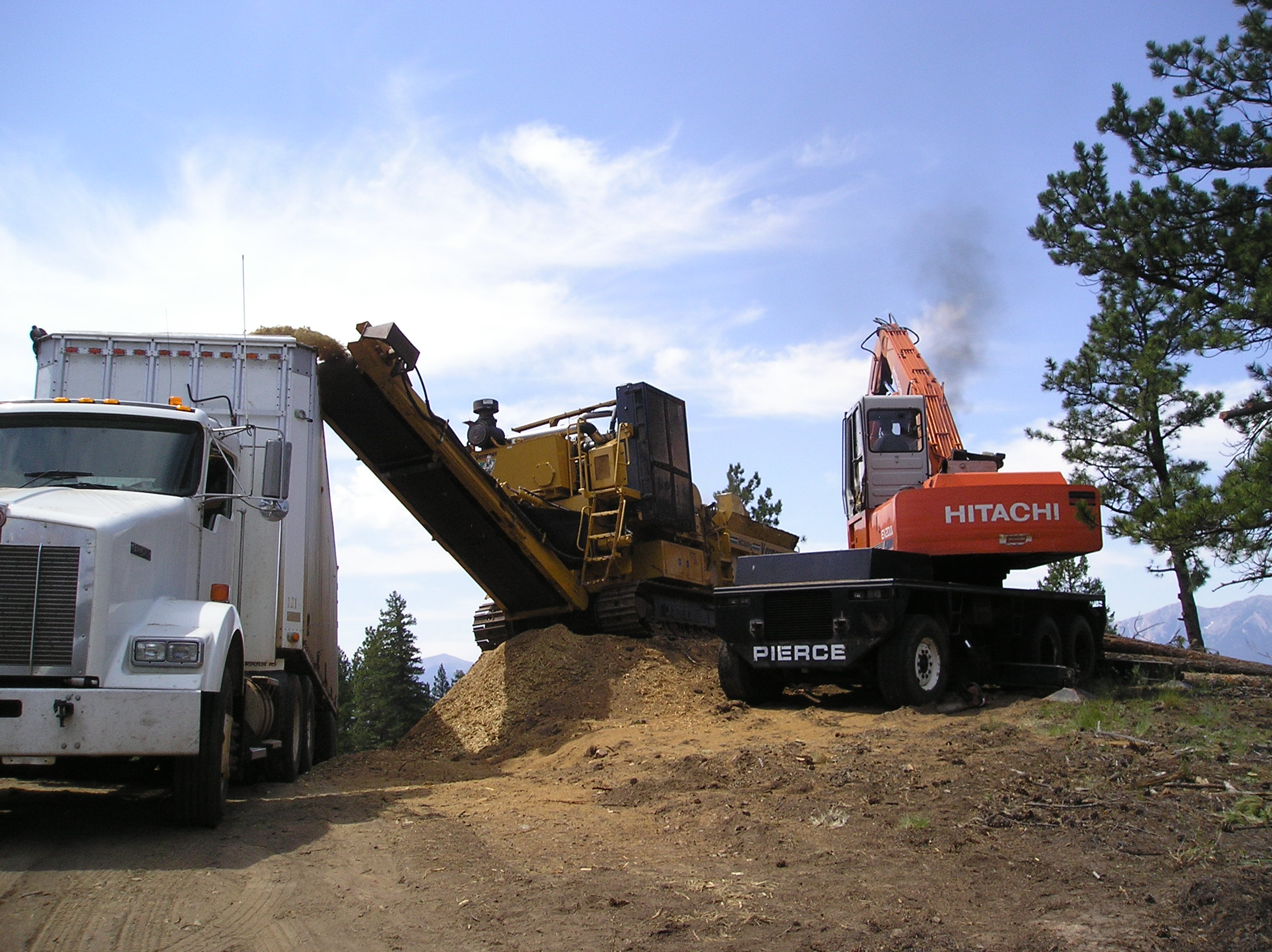 Woodchips being loaded into a chip van