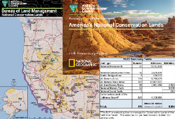 Visit the Maps, Data, and Resources page for more information on the National Conservation Lands. Photos include data tables and maps of the National Conservation Lands.