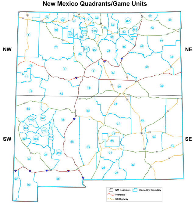 Map Of New Mexico Showing The Hunting Unit Boundaries