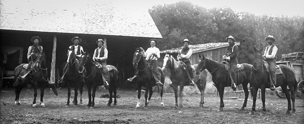 "Prim ""Tebo"" Ortego and fellow buckaroos in southeast Oregon. (Image courtesy of the Claire McGill Luce Western History Room, Harney County Library)"