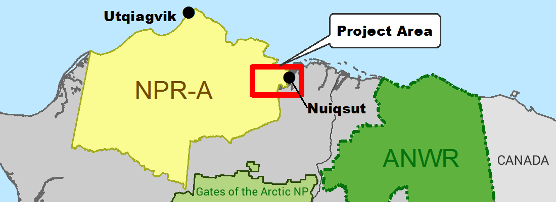 Map of the North slope of Alaska showing where the WIllow project area is located withing the boundaries of the NPR-A