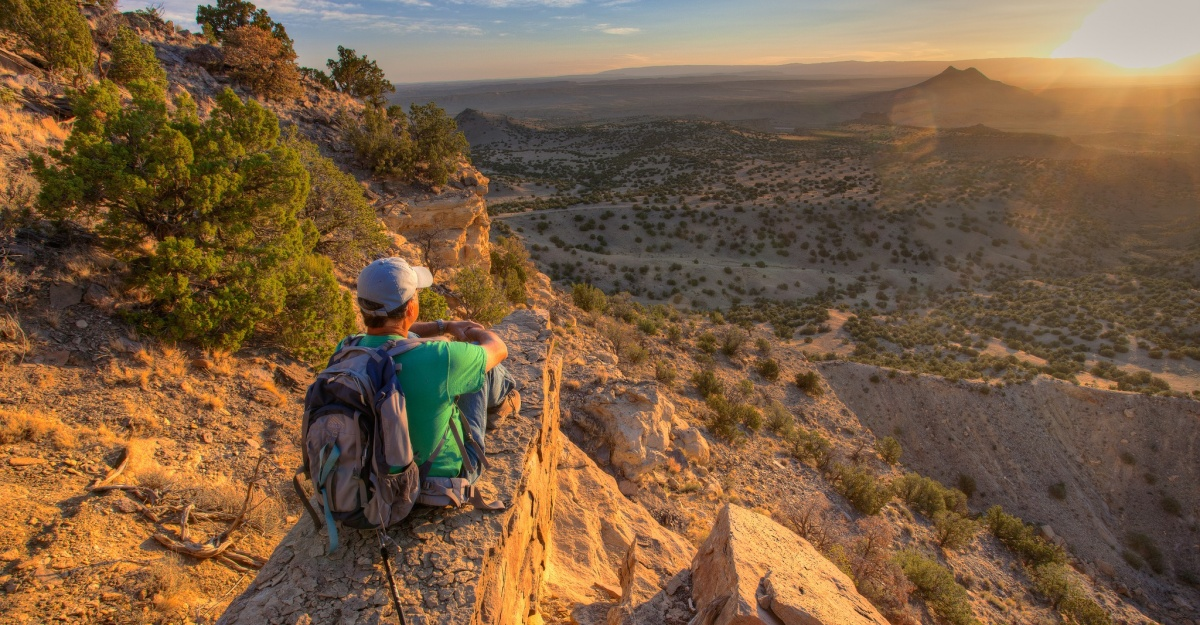A man views the landscape in New Mexico. Photo by Bob Wick, BLM.