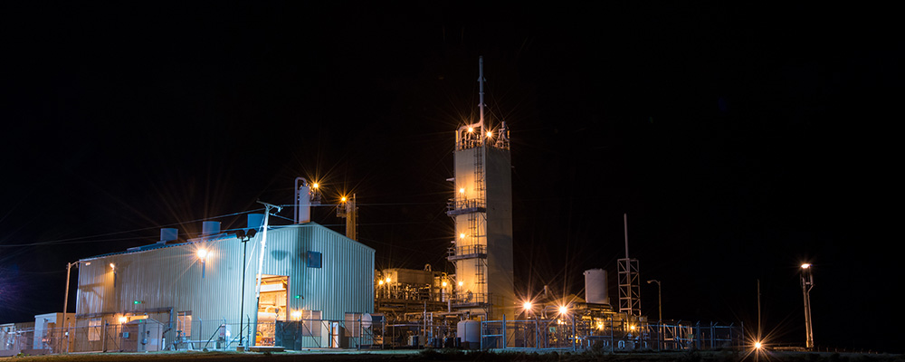 The Cliffiside Helium Enrichment Unit photographed at night