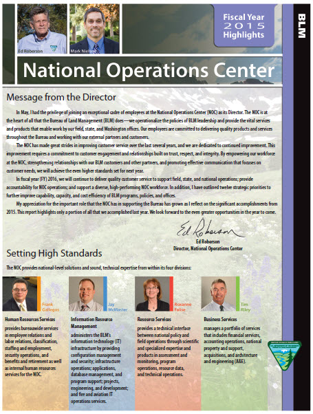 Cover of the National Operations Center 2015 Accomplishment Report