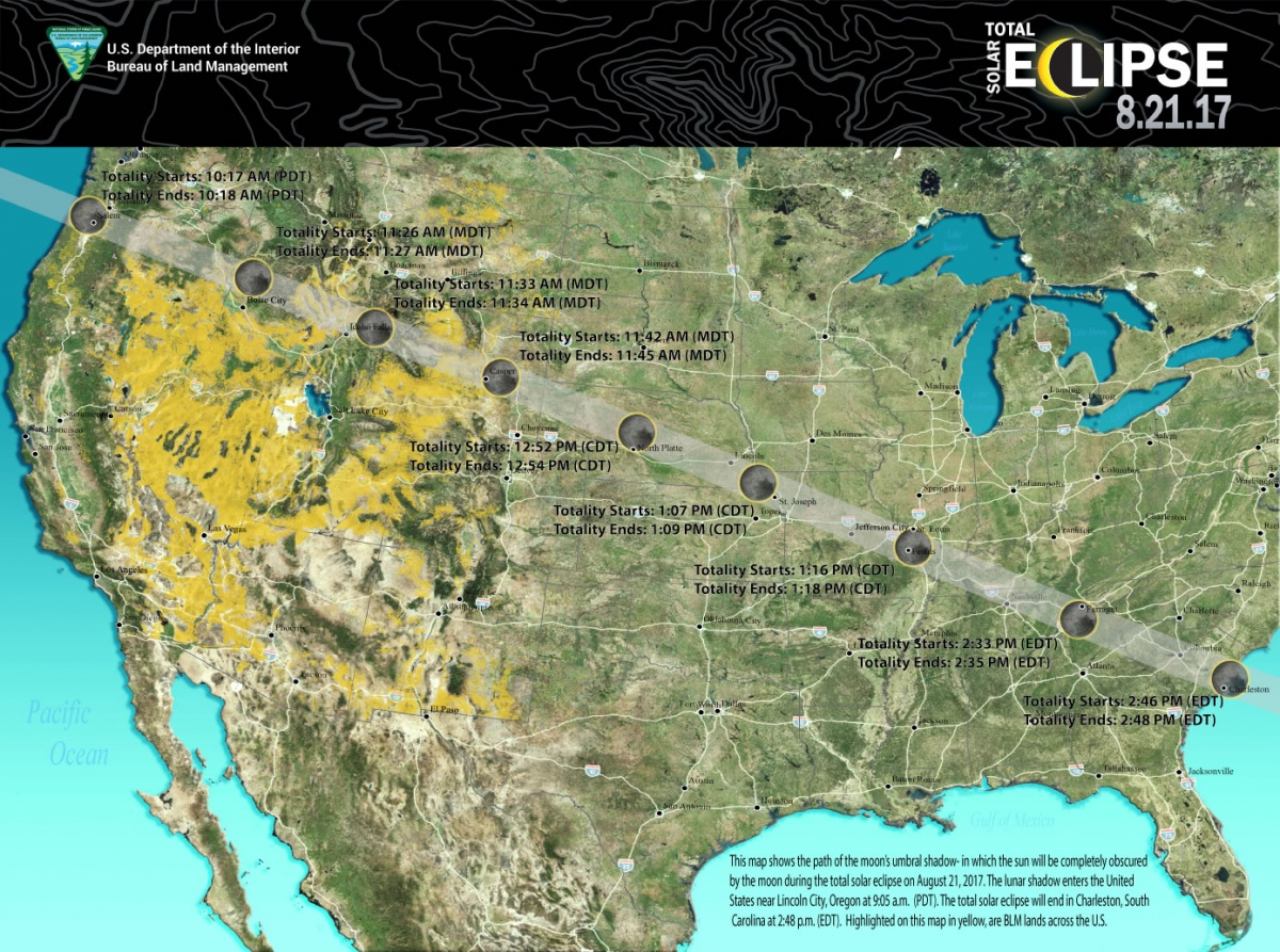 Map Of 2017 Total Solar Eclipse