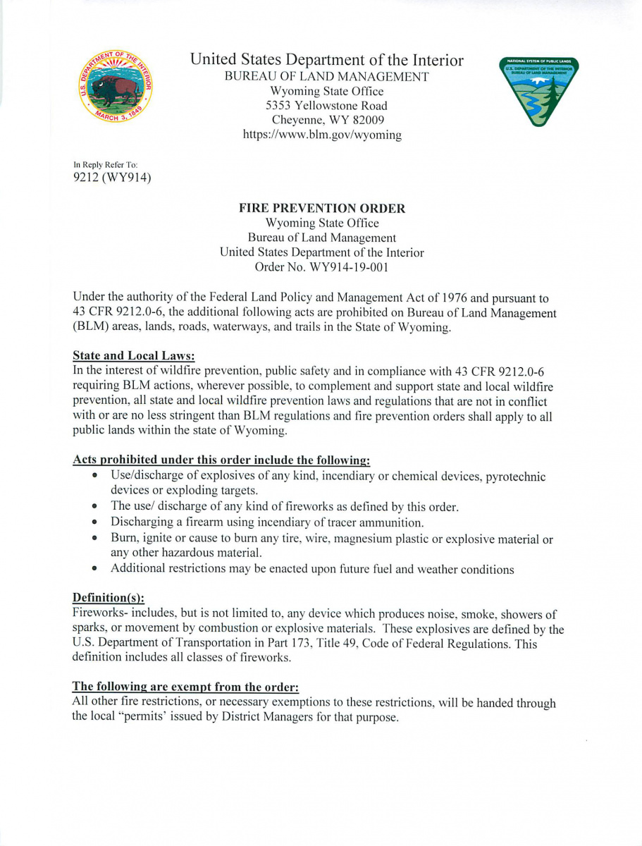 BLM Wyoming Fire Prevention Order 2019