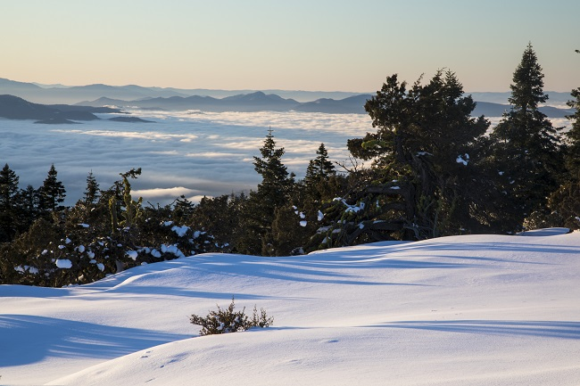 A snowy-sunlit scene highlighting the remarkable views on BLM lands in Oregon during the winter.