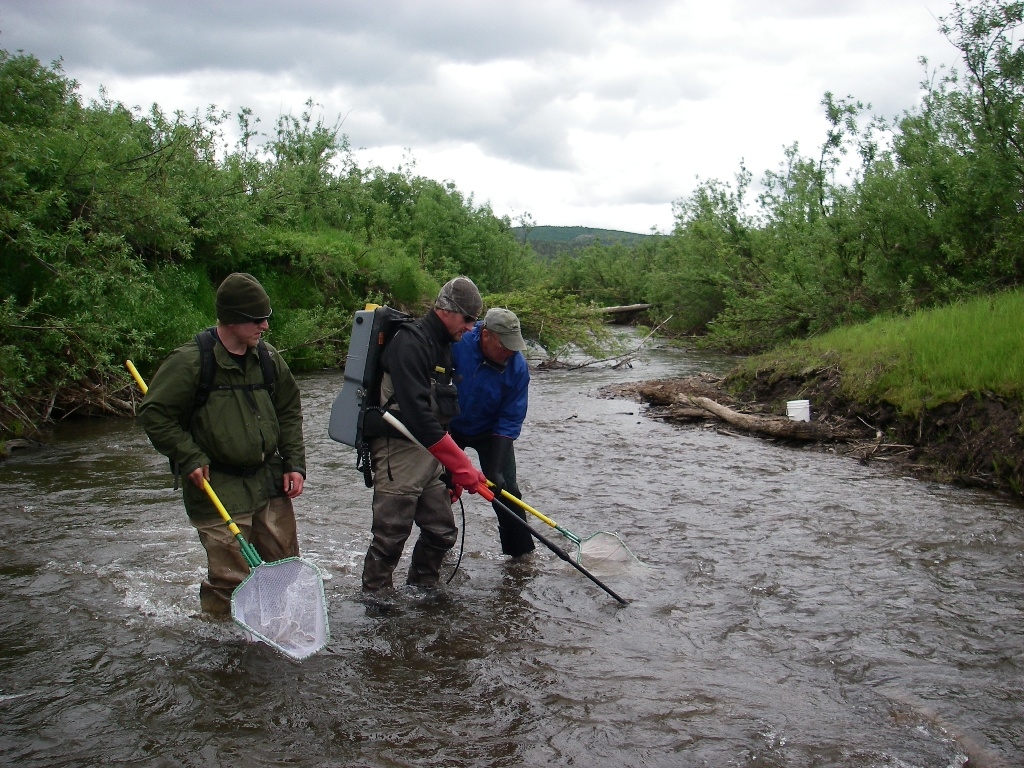 BLM staff conduct field research during the Kivalina River Dolly Varden Habitat Inventory and Mapping Project. BLM Alaska photo.