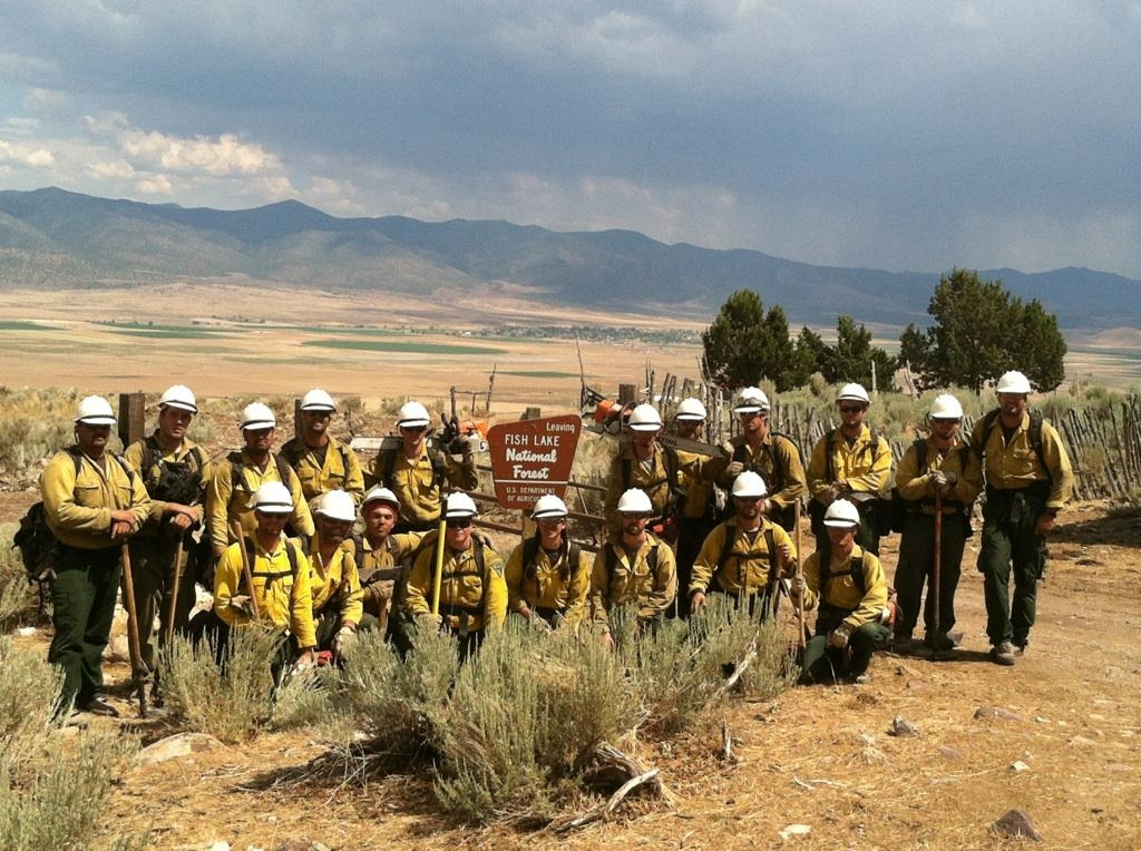The Medford Veterans Crew gathered for a photo after the Clay Springs Fire in Utah.  Credit: BLM Medford District Office