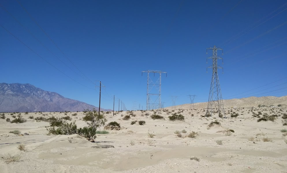 West Wide energy corridor filled with transmission lines near Palm Desert, California