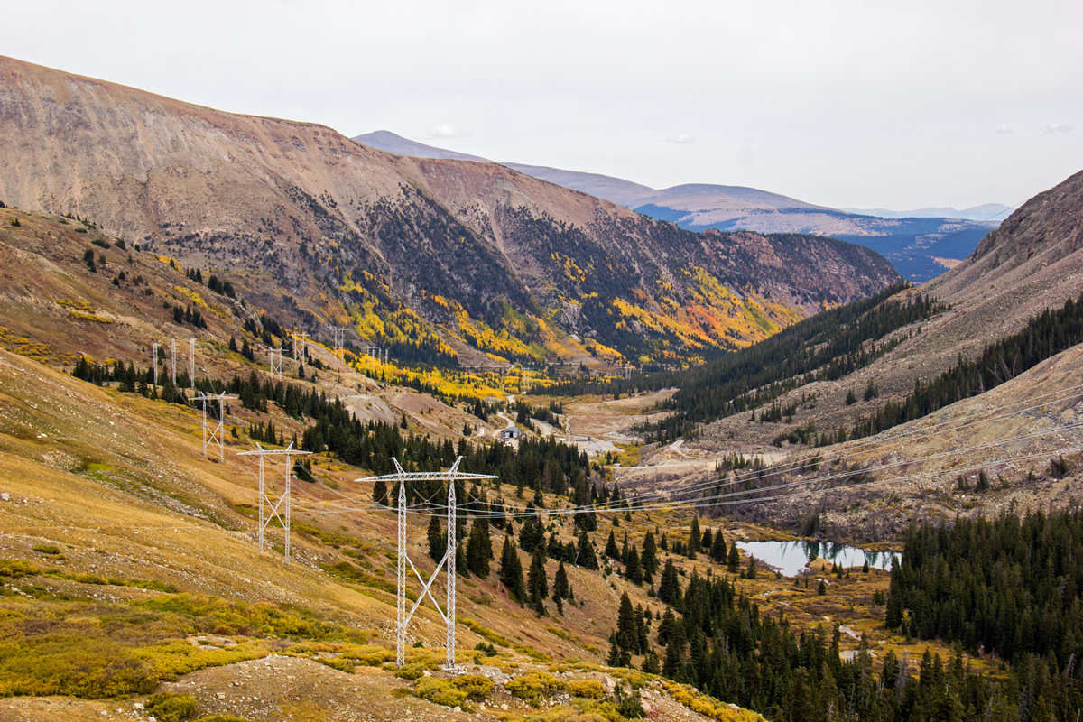 Transmission lines on BLM land running over Mosquito Pass.
