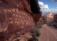 Petroglyphs on rock face