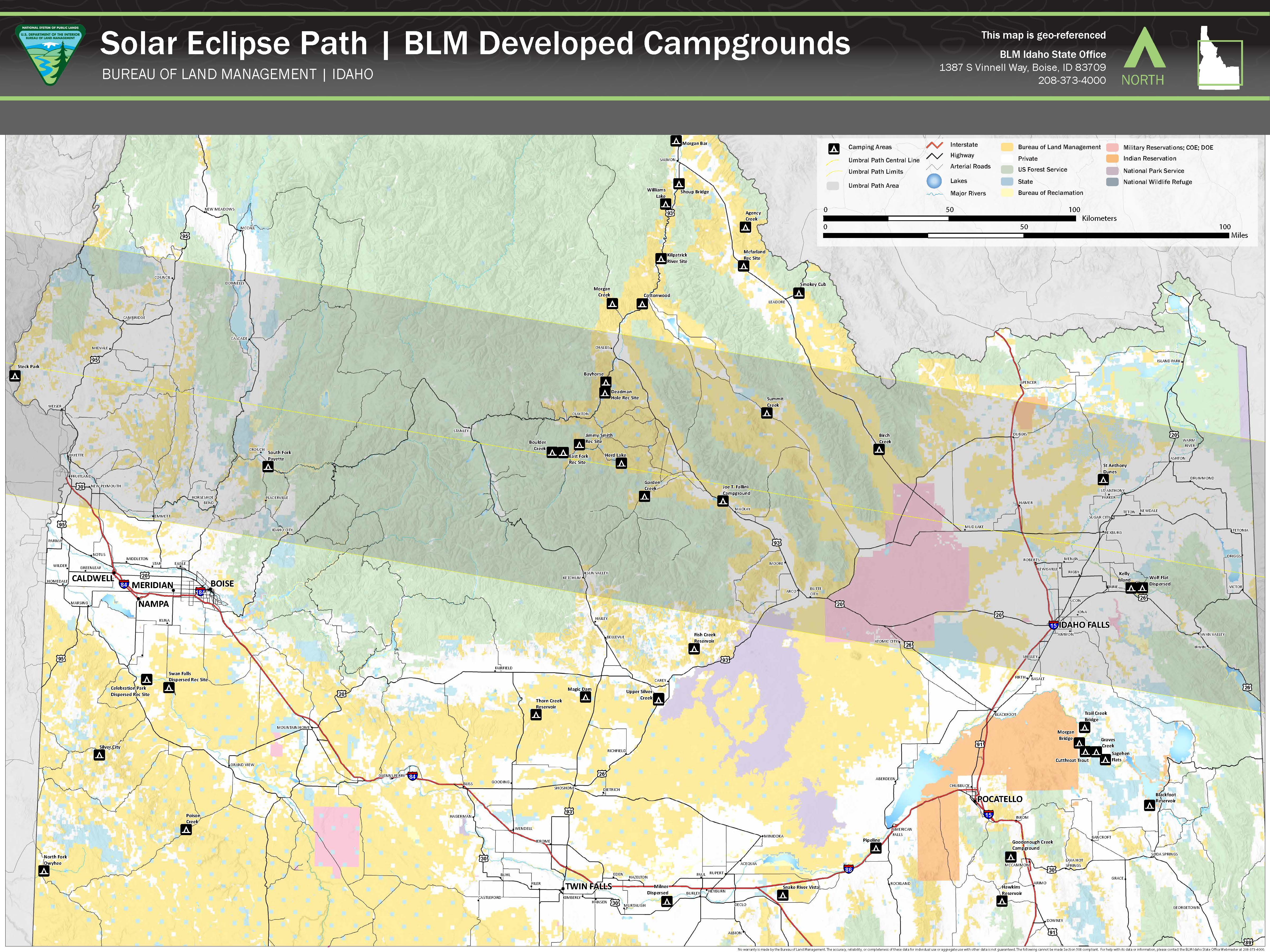 Media Center Public Room Idaho Solar Eclipse 2017 Map Bureau Of