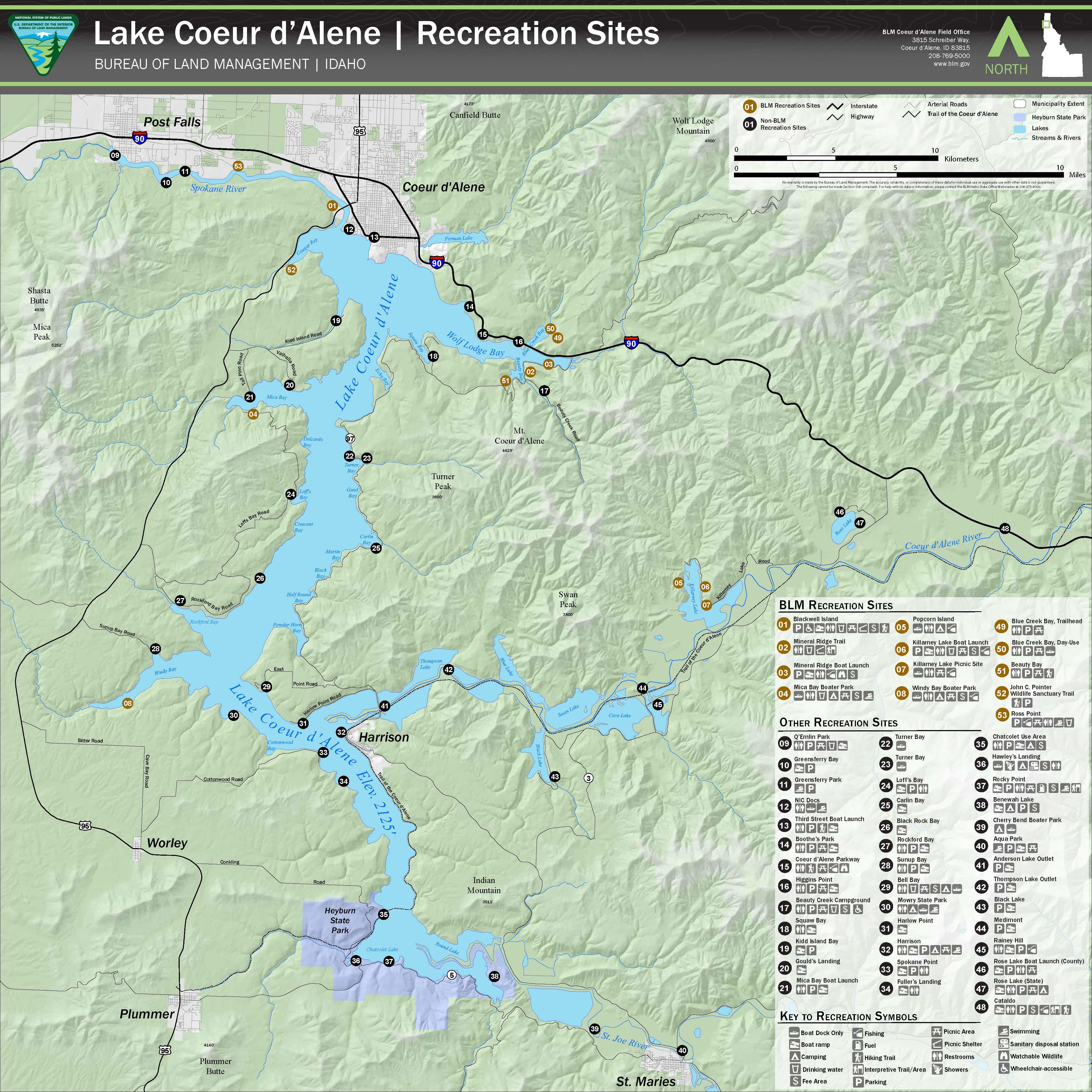 map of cda lake Media Center Public Room Idaho Lake Coeur D Alene Recreation map of cda lake
