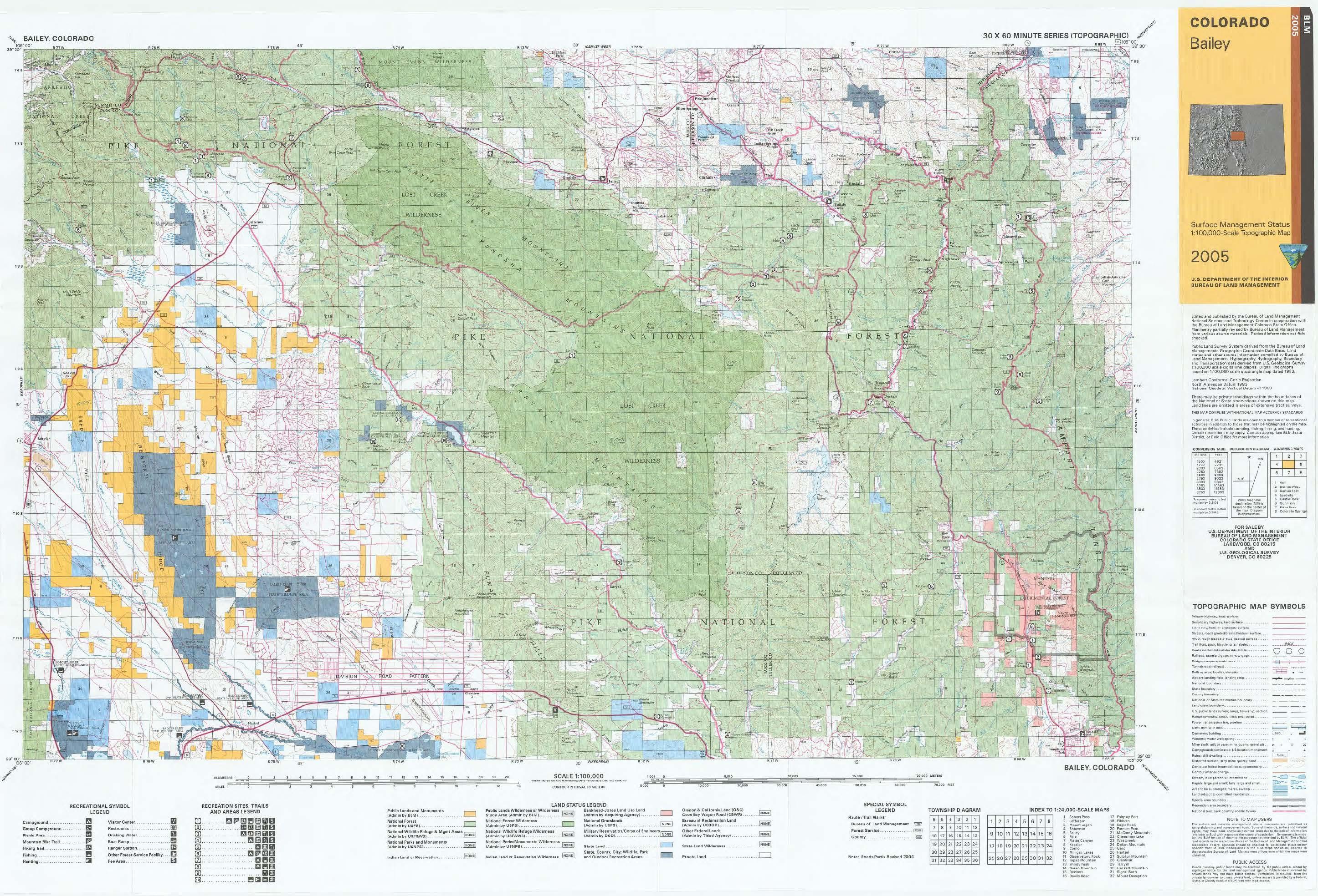 Co Surface Management Status Bailey Map Bureau Of Land Management