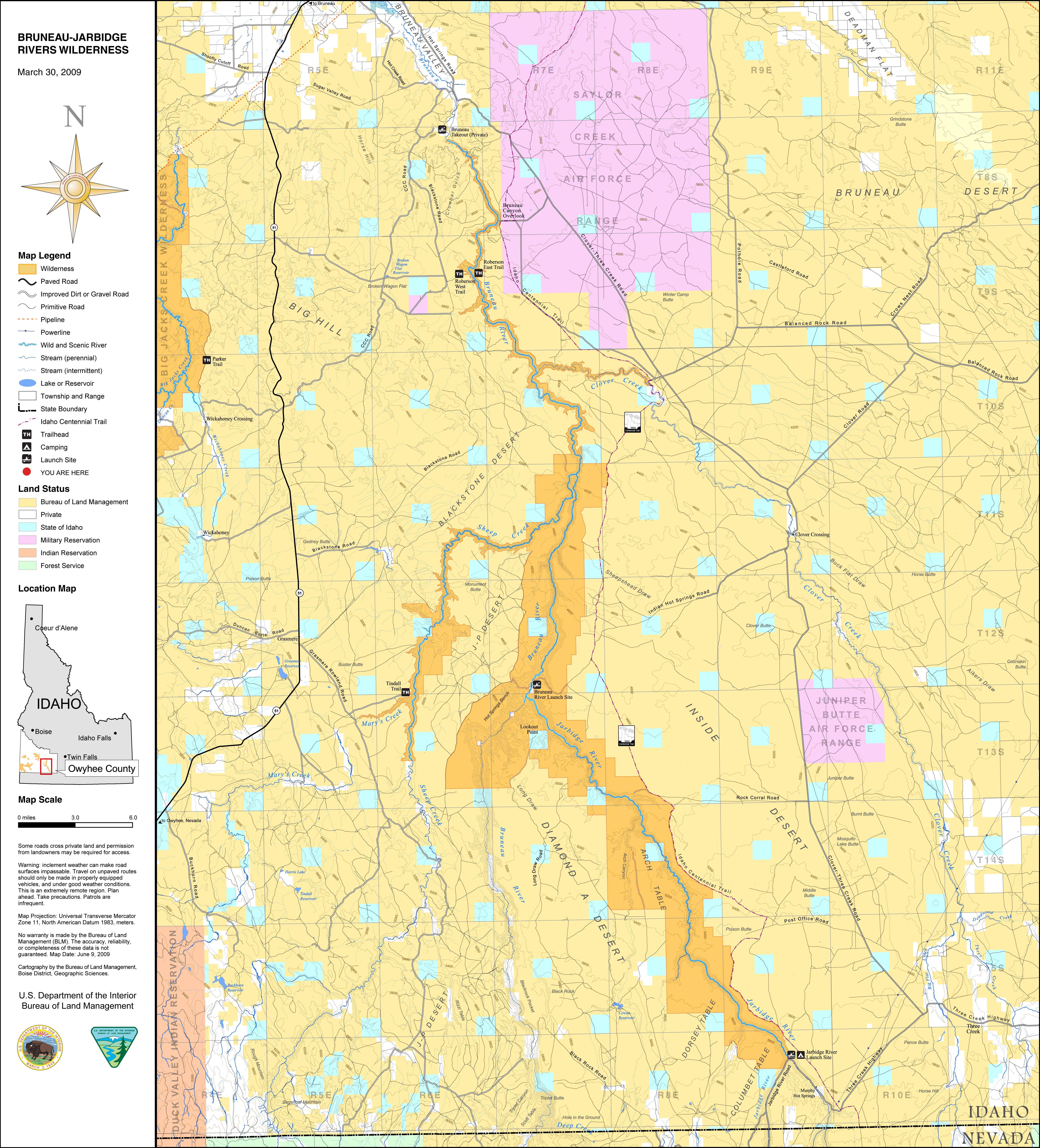 Media Center Public Room Idaho Bruneau Jarbidge Wilderness Map