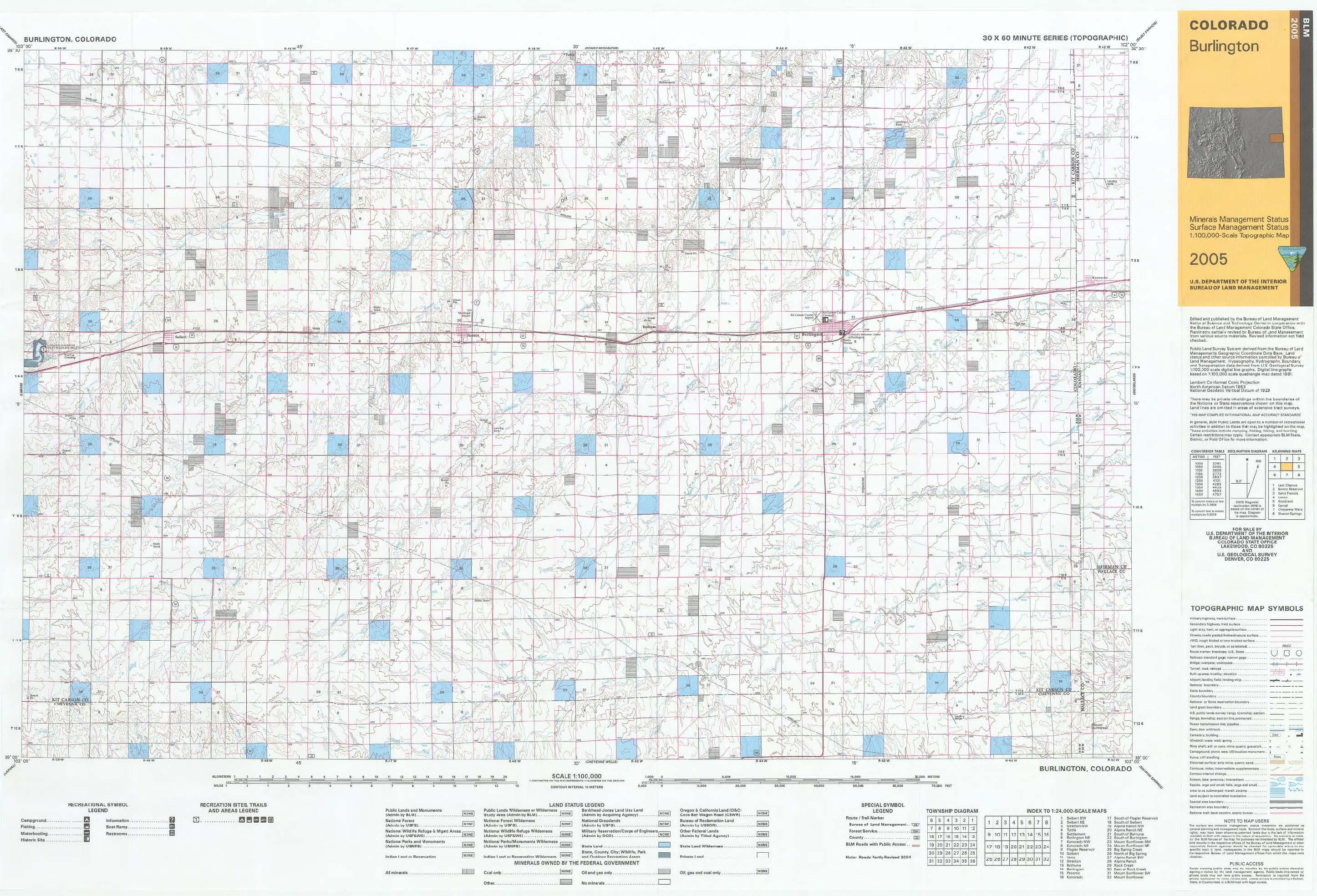 CO Surface Management Status Burlington Map BUREAU OF LAND MANAGEMENT