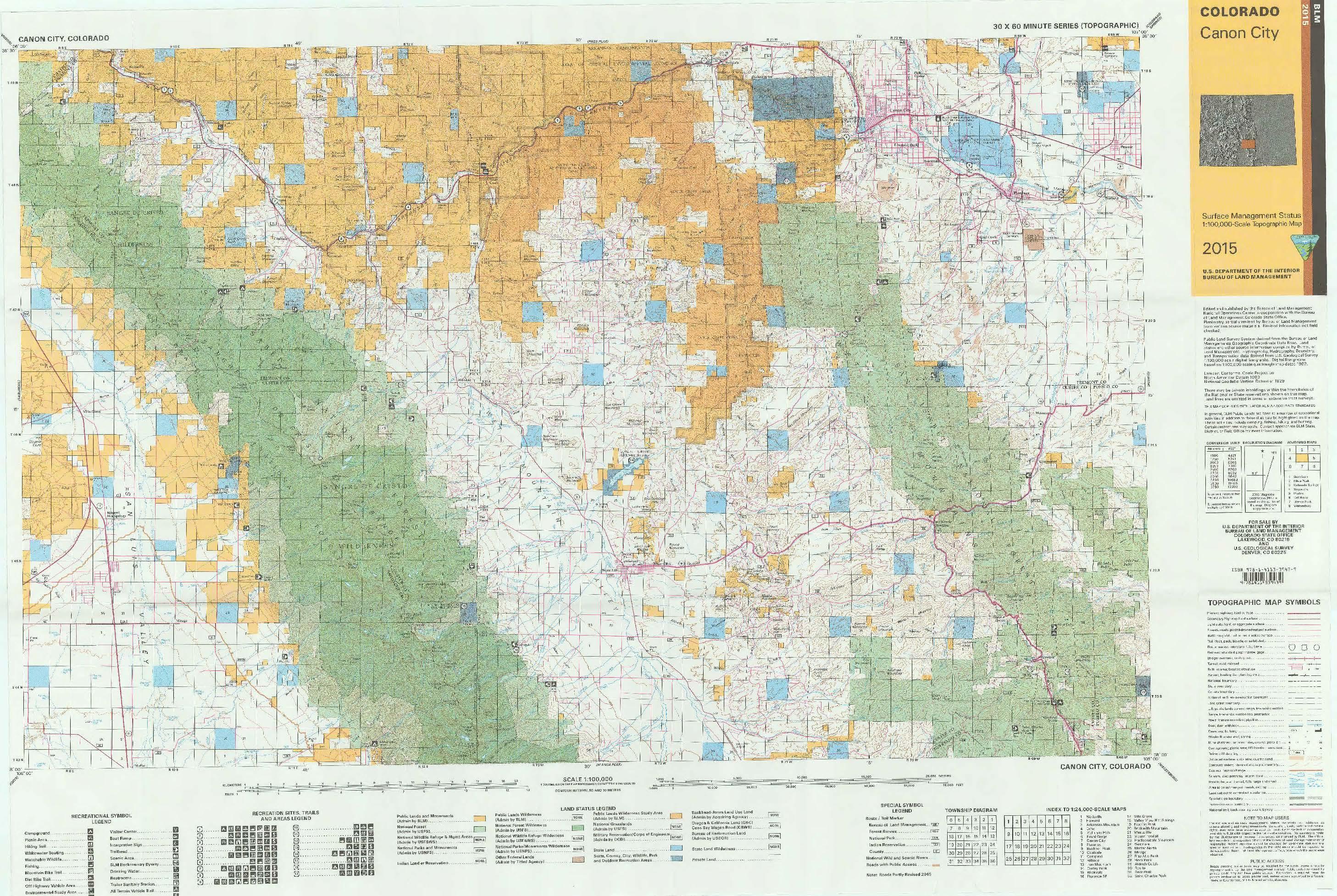 Blm Colorado Map CO Surface Management Status Canon City Map | Bureau of Land