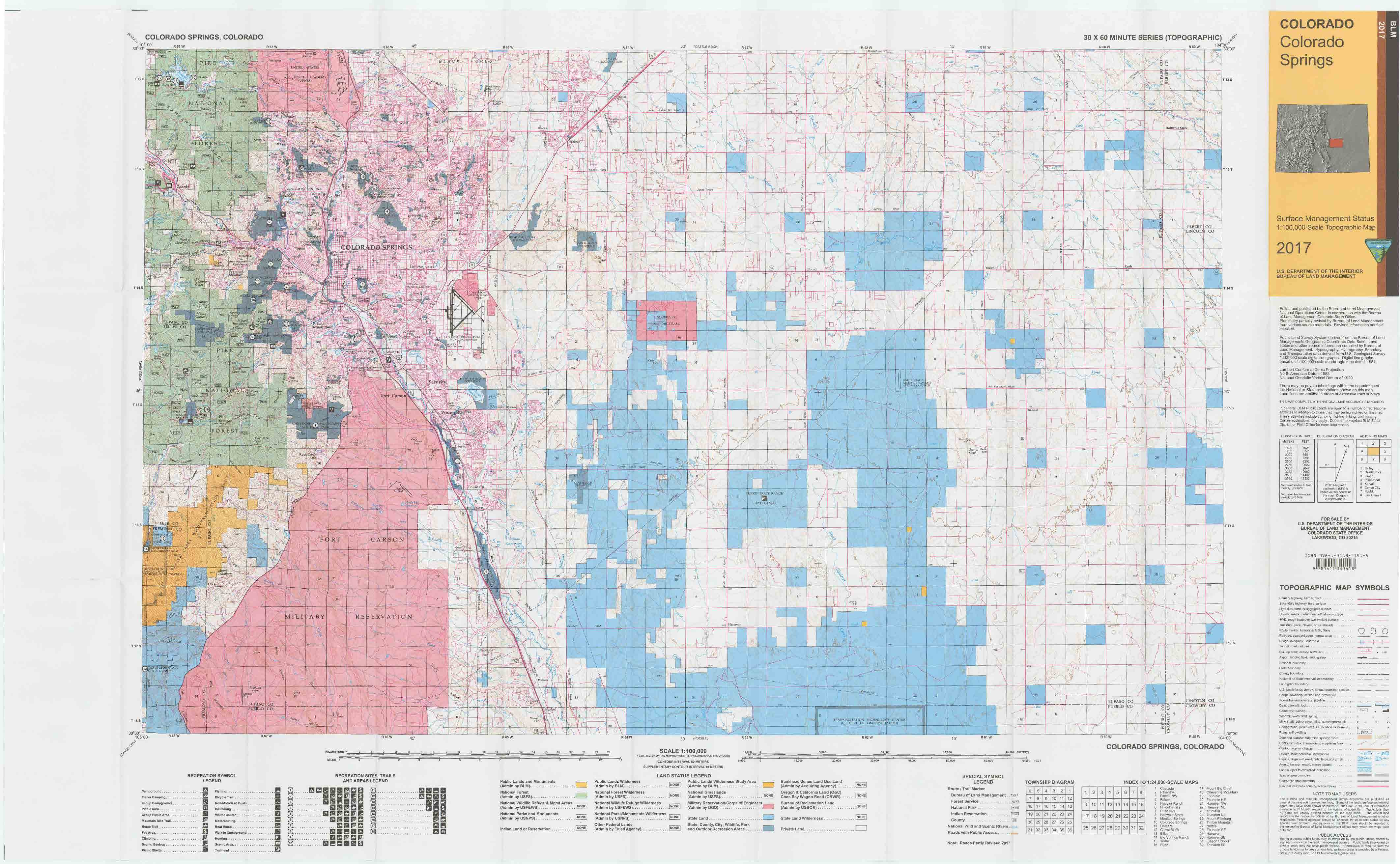CO Surface Management Status Colorado Springs Map | Bureau of Land on