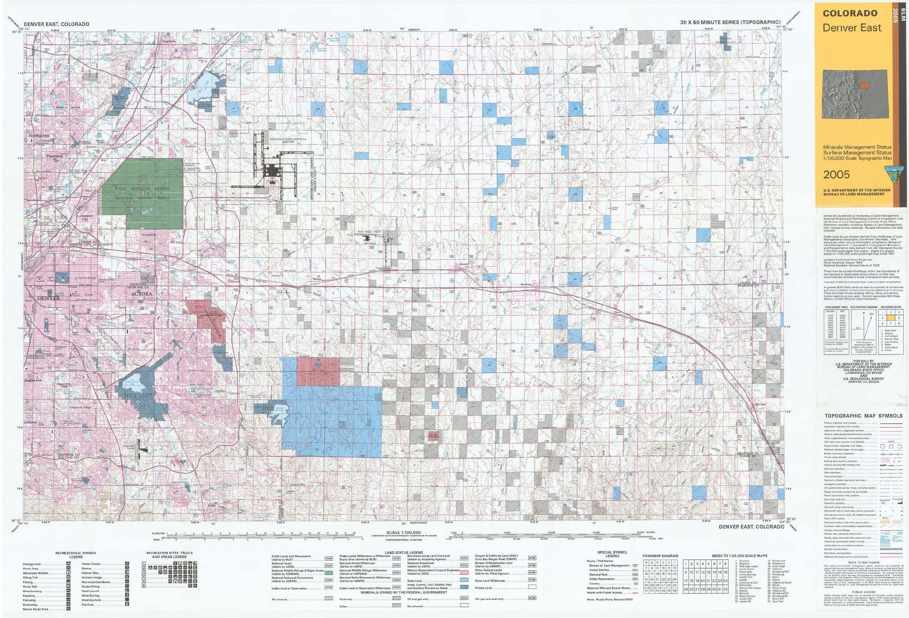 Co Surface Management Status Denver East Map Bureau Of Land Management - Us-surface-map