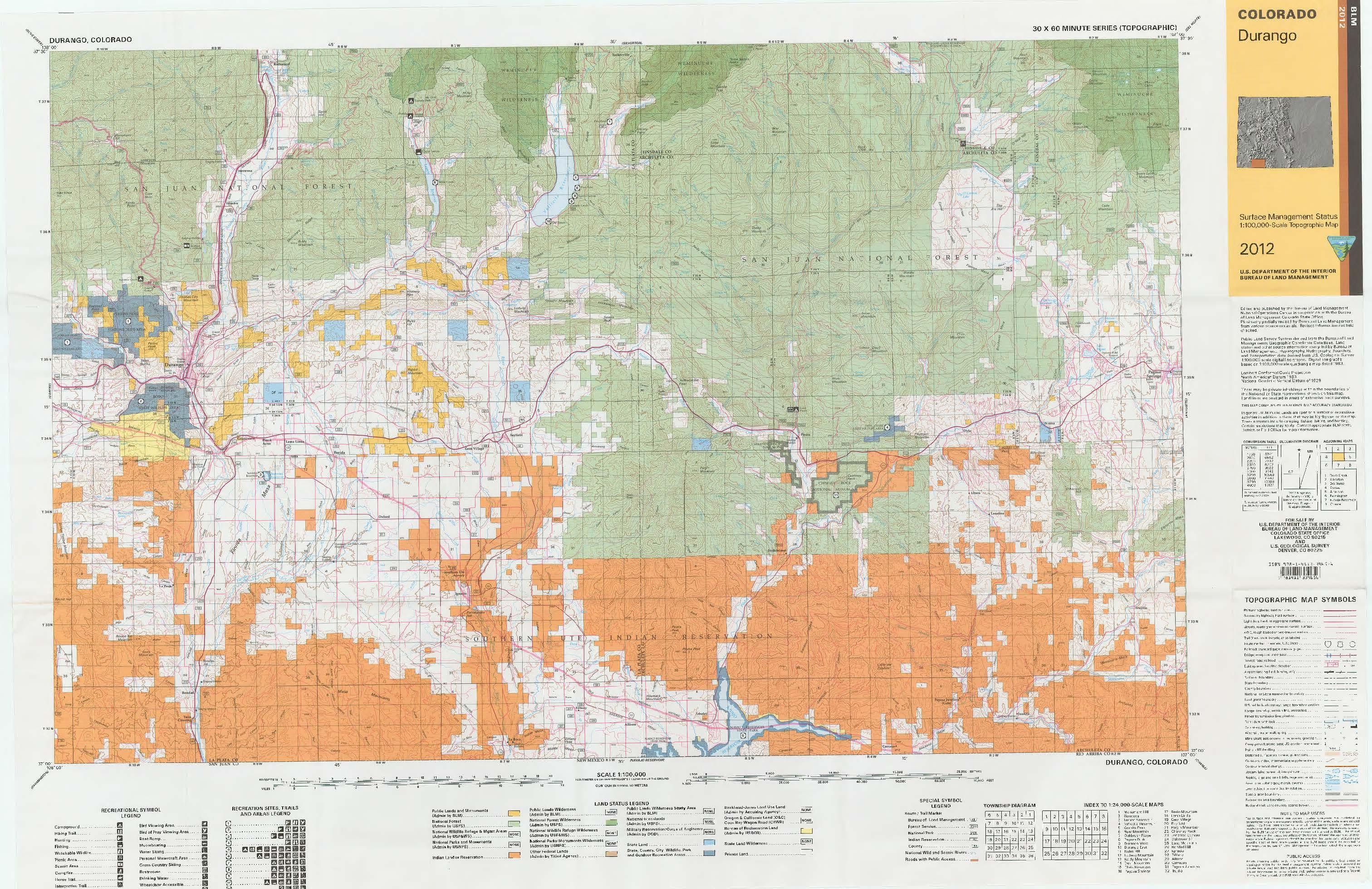 Blm Colorado Map CO Surface Management Status Durango Map | Bureau of Land Management