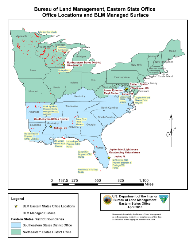 Eastern States Office Overview Map | Bureau of Land Management