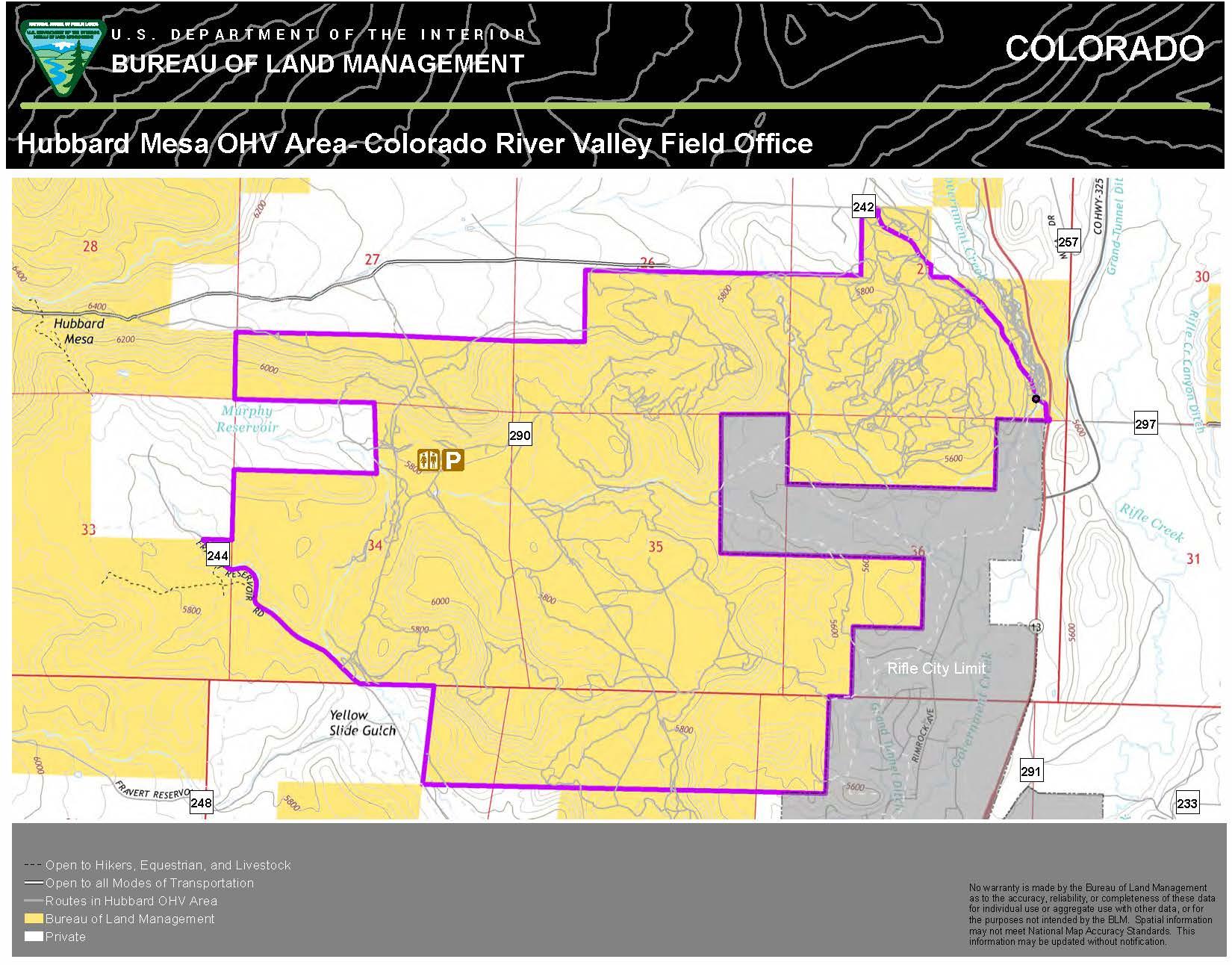 Hubbard Mesa OffHighwayVehicle Area Map BUREAU OF LAND MANAGEMENT