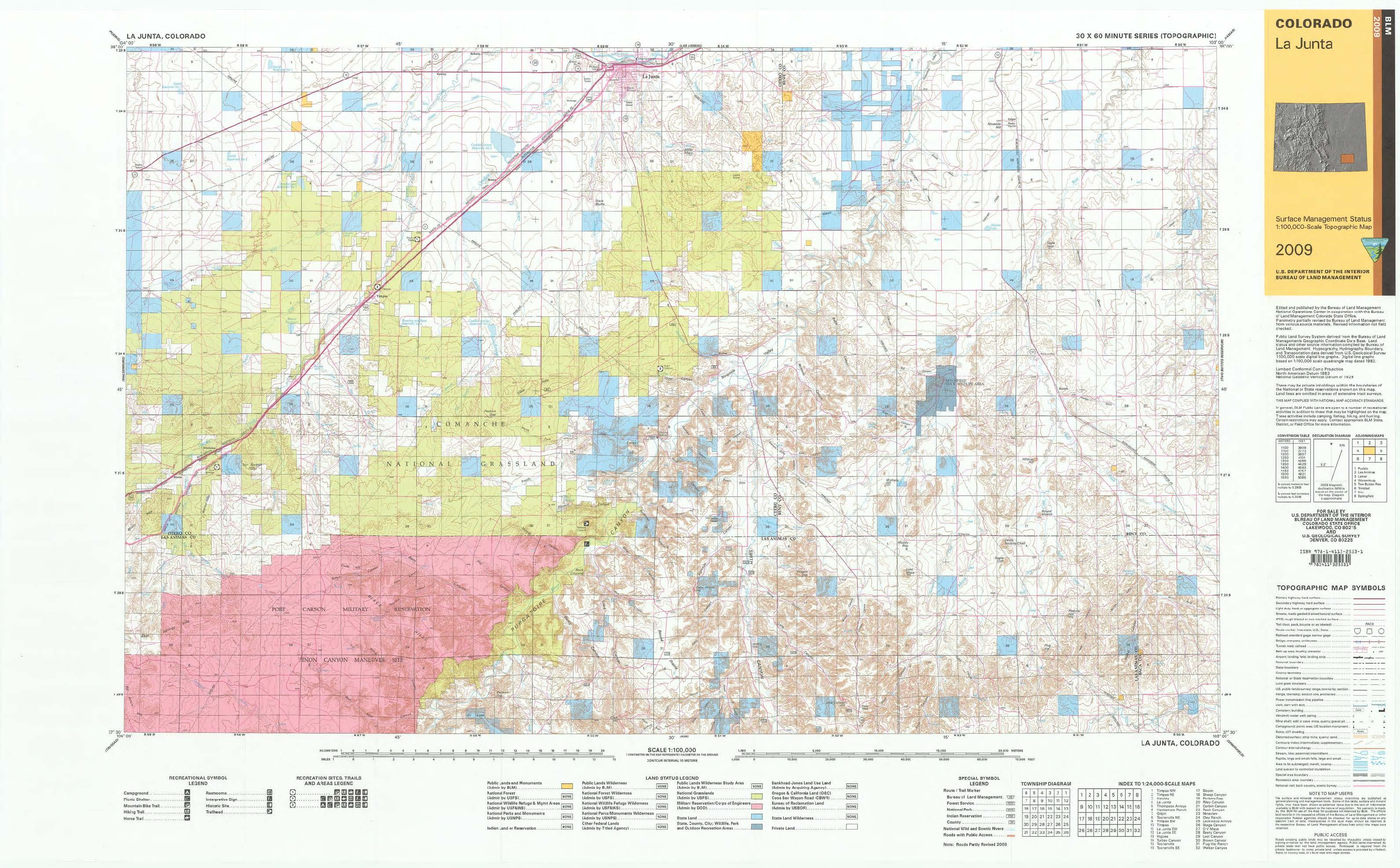 La On Us Map.Co Surface Management Status La Junta Map Bureau Of Land Management