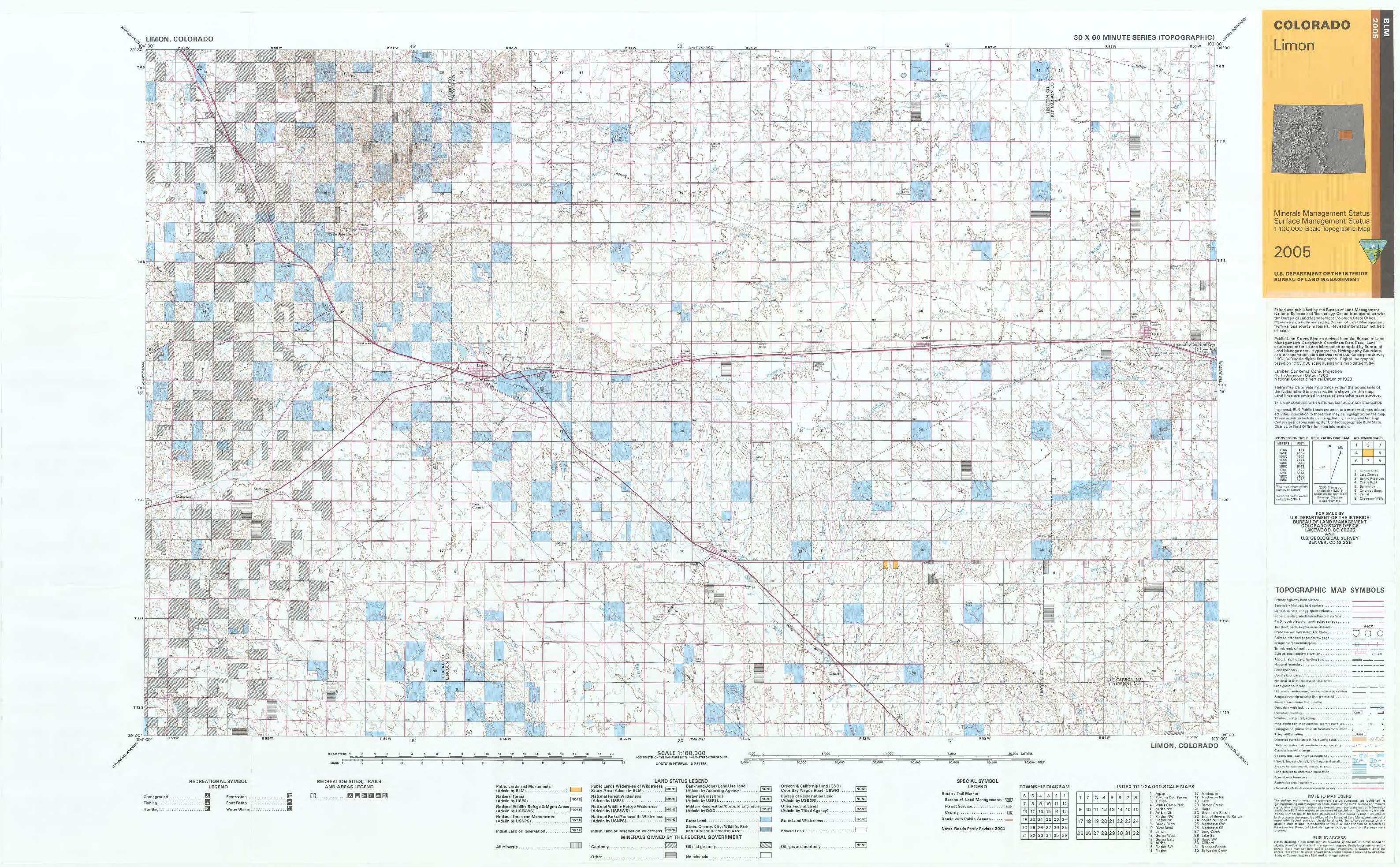 Nw Colorado Map.Co Surface Management Status Limon Map Bureau Of Land Management