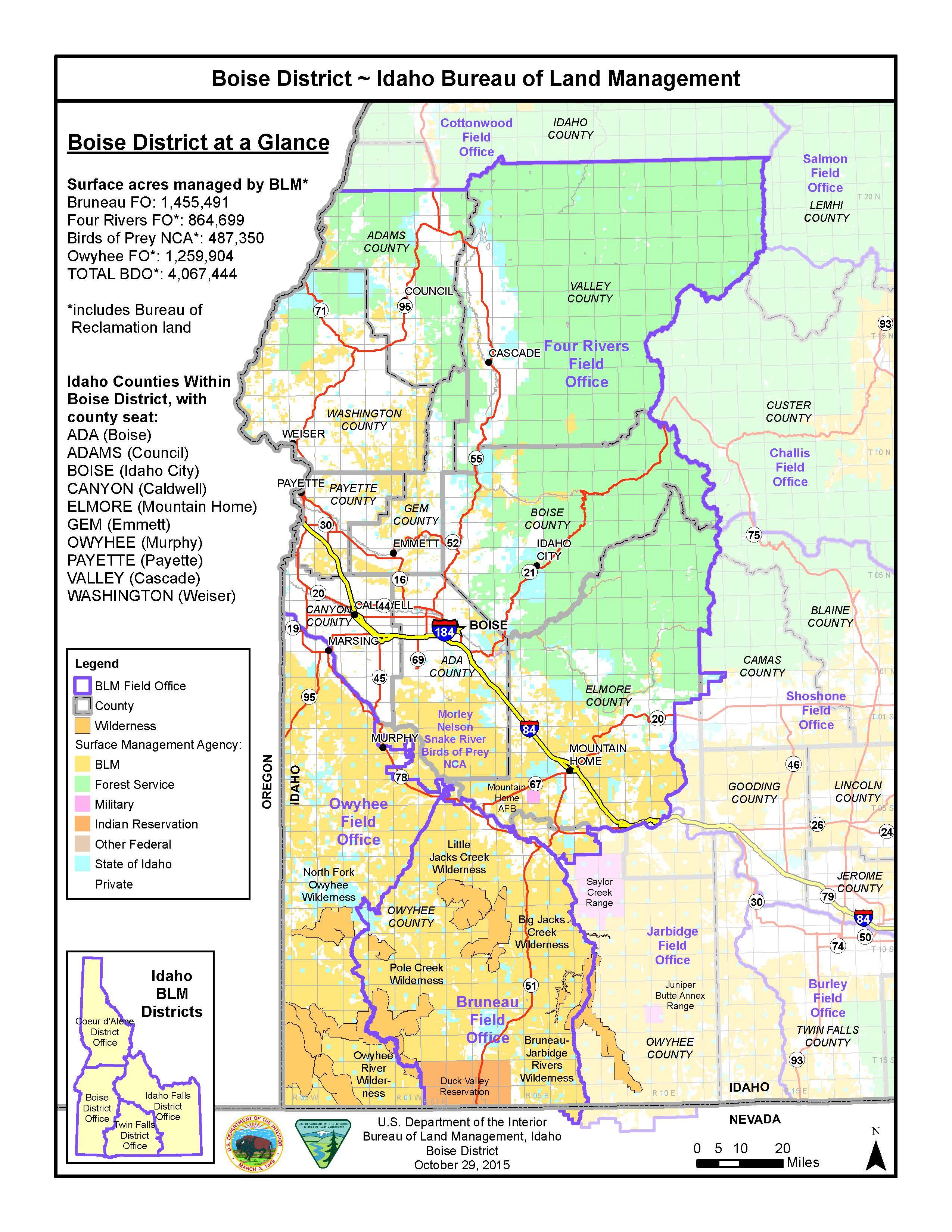 Blm Land Map Idaho Media Center: Public Room: Idaho: Boise District Map | Bureau of