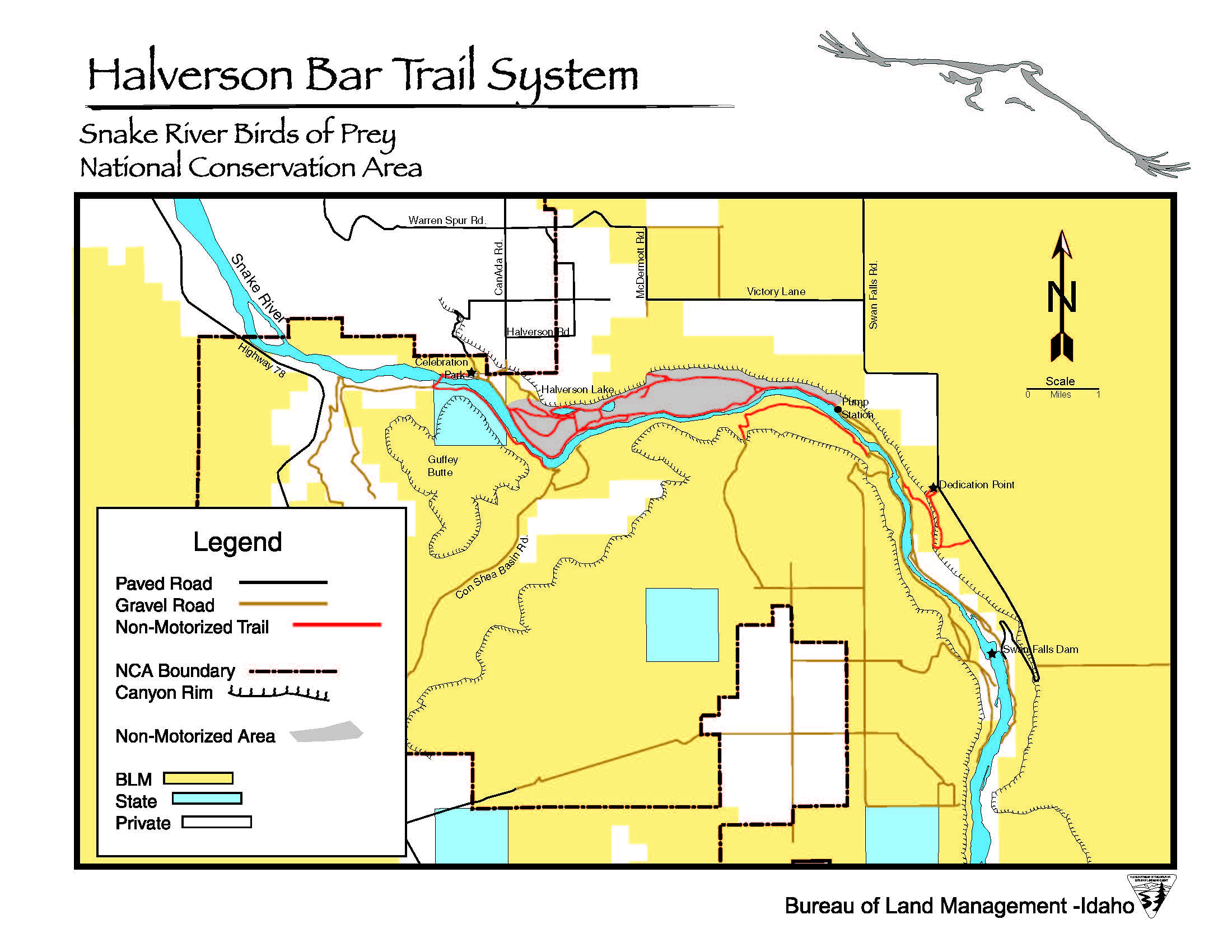 Media Center Public Room Idaho Halverson Bar Trail Map Bureau - Us-map-snake-river