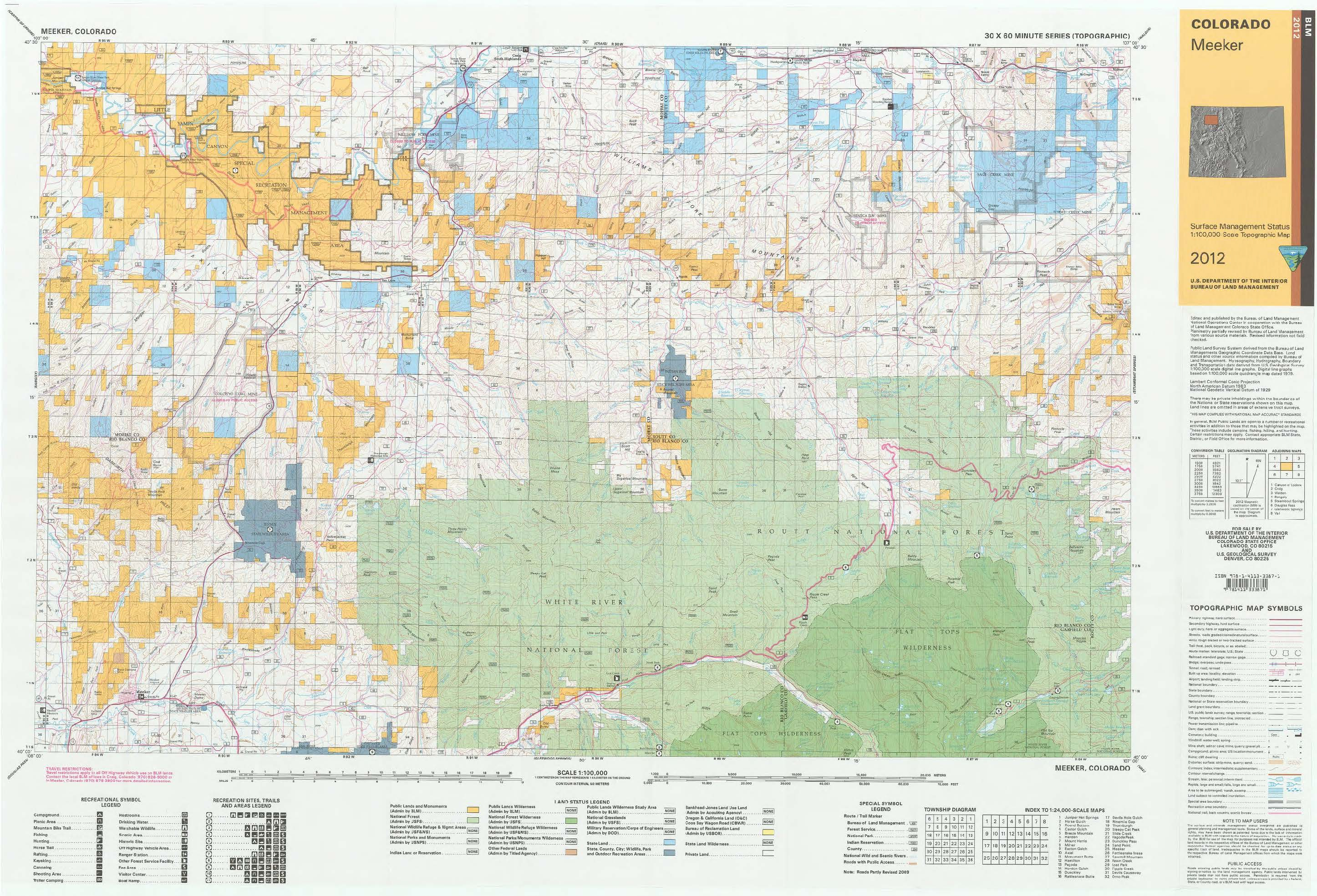 Blm Colorado Map CO Surface Management Status Meeker Map | Bureau of Land Management