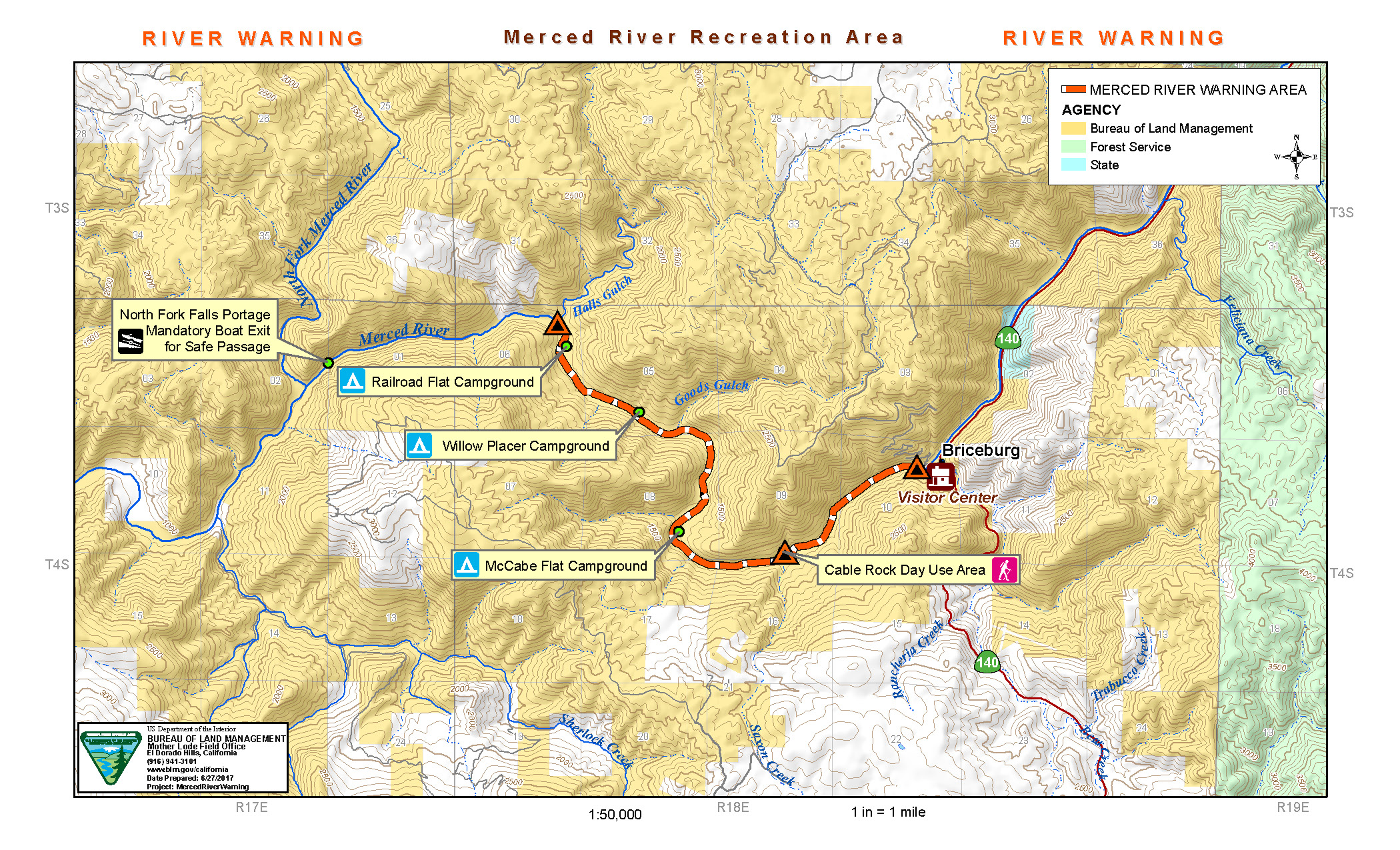 Merced River Recreation Area Map BUREAU OF LAND MANAGEMENT