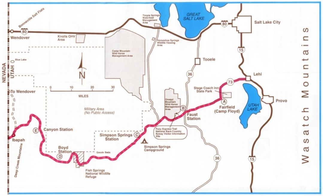 Media Public Room Utah Pony Express Backcountry Byway Map