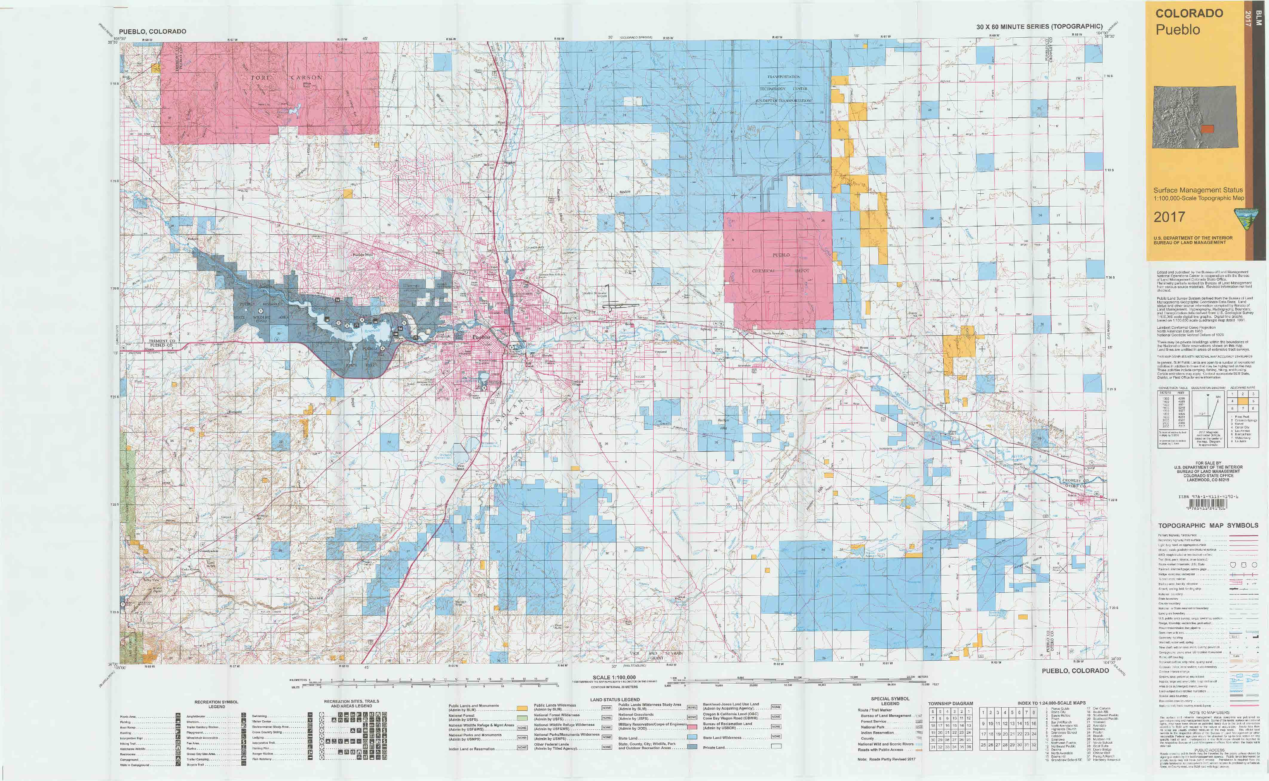 CO Surface Management Status Pueblo Map | Bureau of Land ...