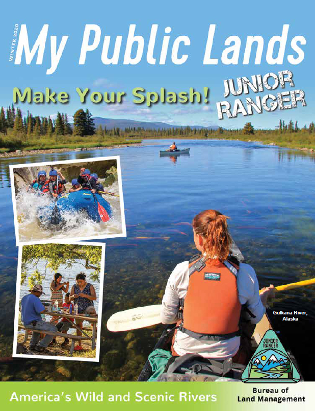 Make Your Splash Junior Ranger magazine cover showing a young woman canoeing on the Gulkana Wild and Scenic River in Alaska