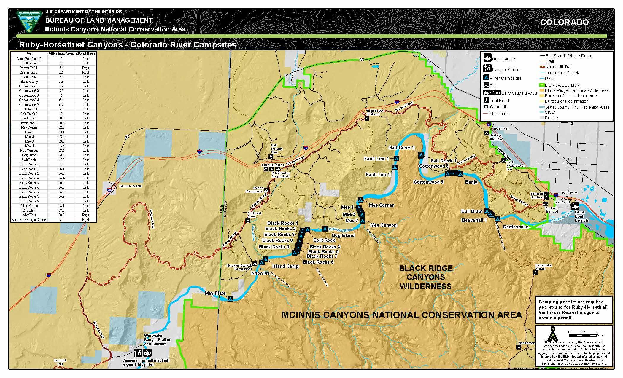 Ruby Horsethief Canyons Colorado River Campsite Map Bureau Of - Colorado-on-map-of-us