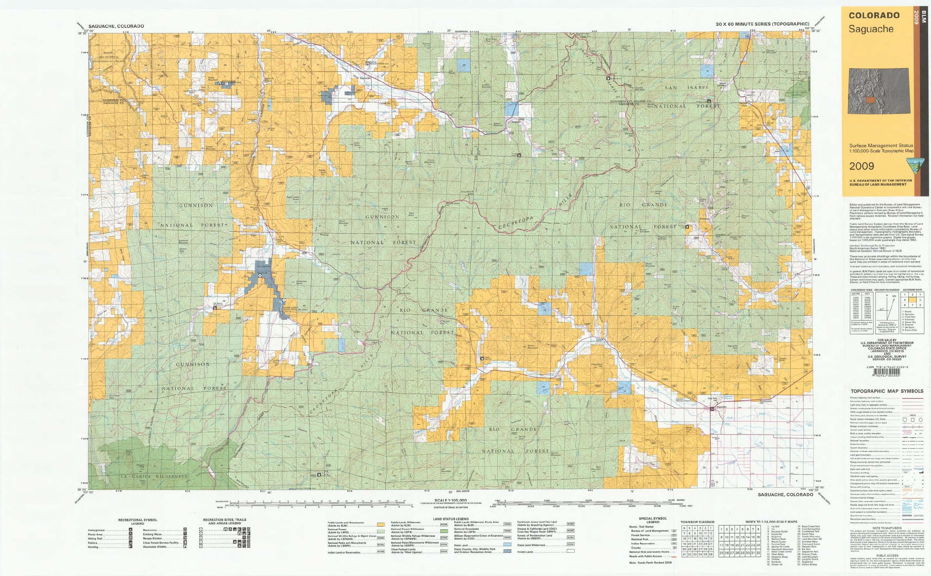 Co Surface Management Status Saguache Map Bureau Of Land
