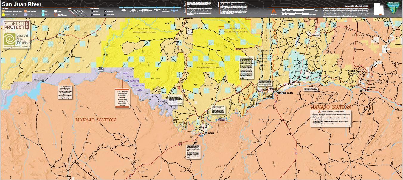 San Juan River Utah Map.Blm Utah San Juan River Map Bureau Of Land Management